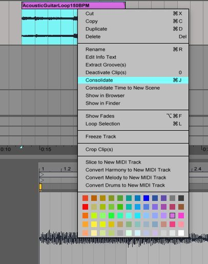 Ableton Live Consolidate